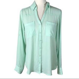 Teal Sleek Button Down Long Sleeve Shirt